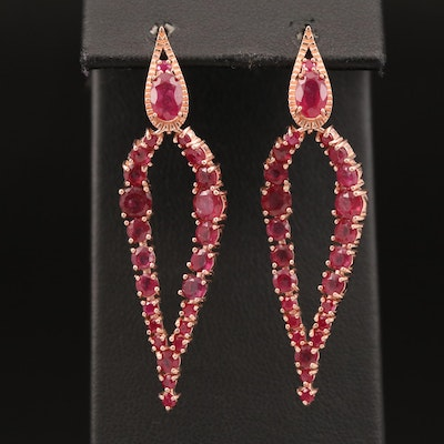 Sterling Silver Corundum Drop Earrings