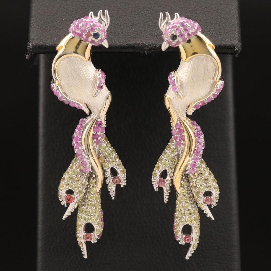 Sterling Sapphire Phoenix Earrings