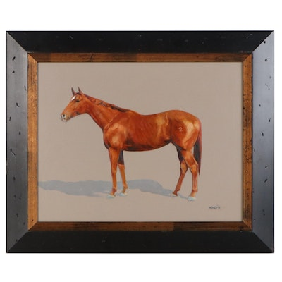 K.M. Daly Oil Painting of Chestnut Horse, 2003