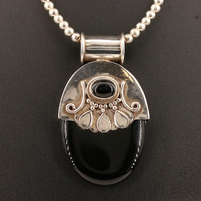 Sterling Black Onyx Slide Pendant on Bead Chain Necklace