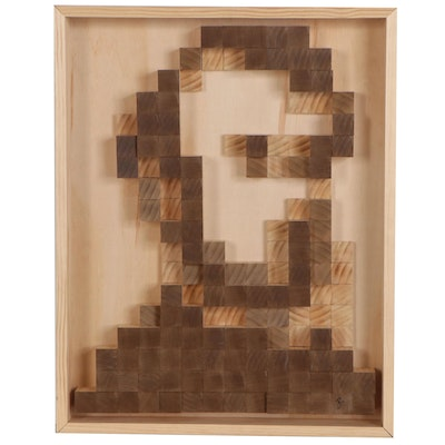 "Joshua Ramsey Wood Sculpture ""Pixel Lincoln"""