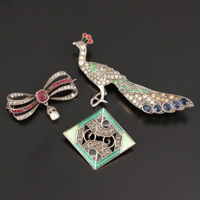 Vintage Sterling and 835 Silver Brooches Including Peacock Motif