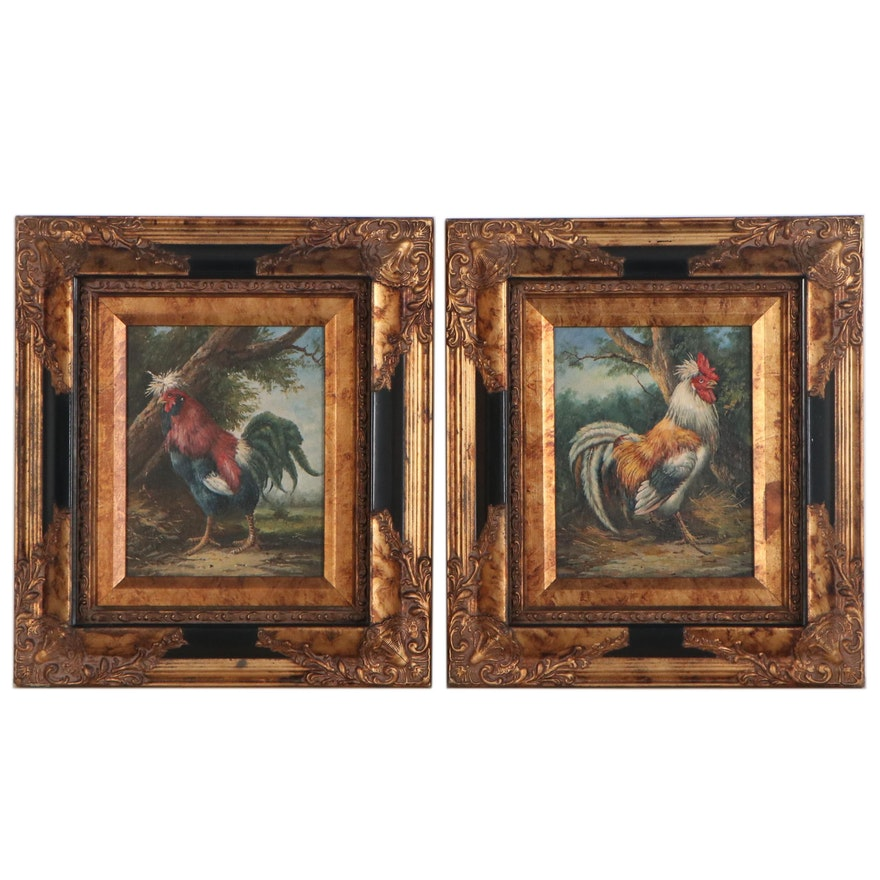 Academic Style Oil Paintings of Roosters