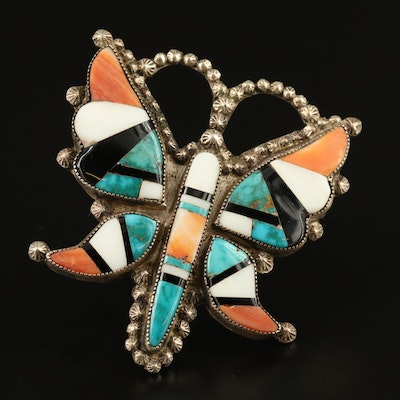 Vintage Western Style Sterling Silver Butterfly Inlay Brooch