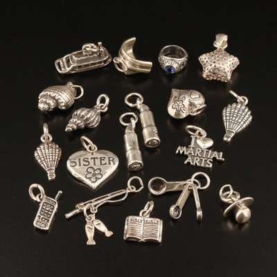 Collection of Sterling Charms Including Class Ring and Star Charms