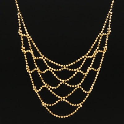 14K Bead Chain Bib Necklace