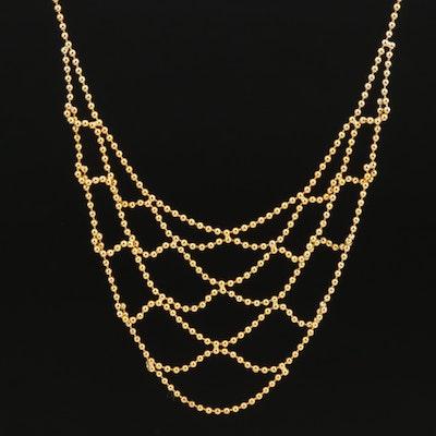 14K Bead Chain Bib Necklace