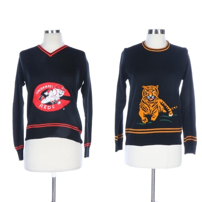Cyn Les Cincinnati Red and Bengal Tiger Sweaters, Vintage