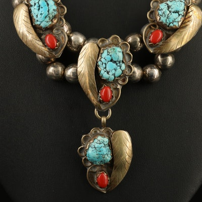 Vintage Western Style Howlite and Coral Necklace