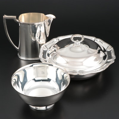 Gorham Silver Plate Lidded Serving Dish and Other Silver Plate Serveware