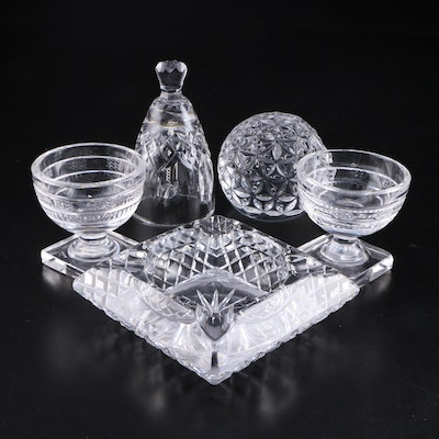 "Waterford ""Lismore"" Bell with Footed Bowls, Paperweight and Glass Ashtray"