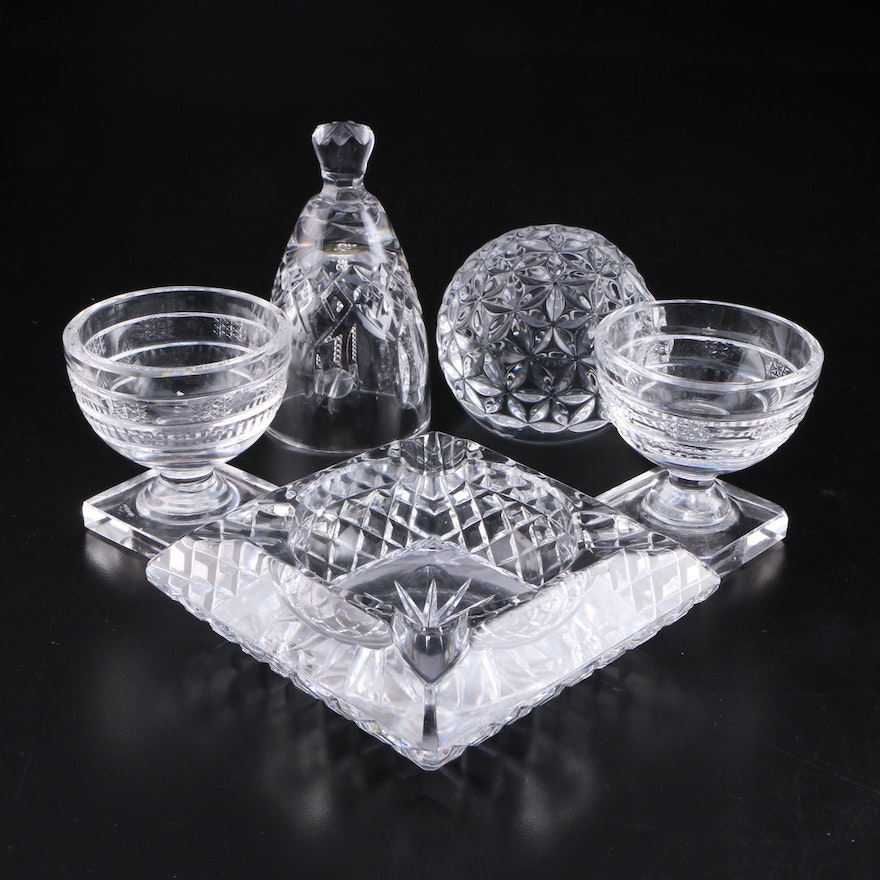 """Waterford """"Lismore"""" Bell with Footed Bowls, Paperweight and Glass Ashtray"""