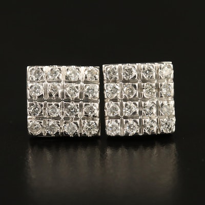 14K Diamond Cluster Earrings with Geometric Design
