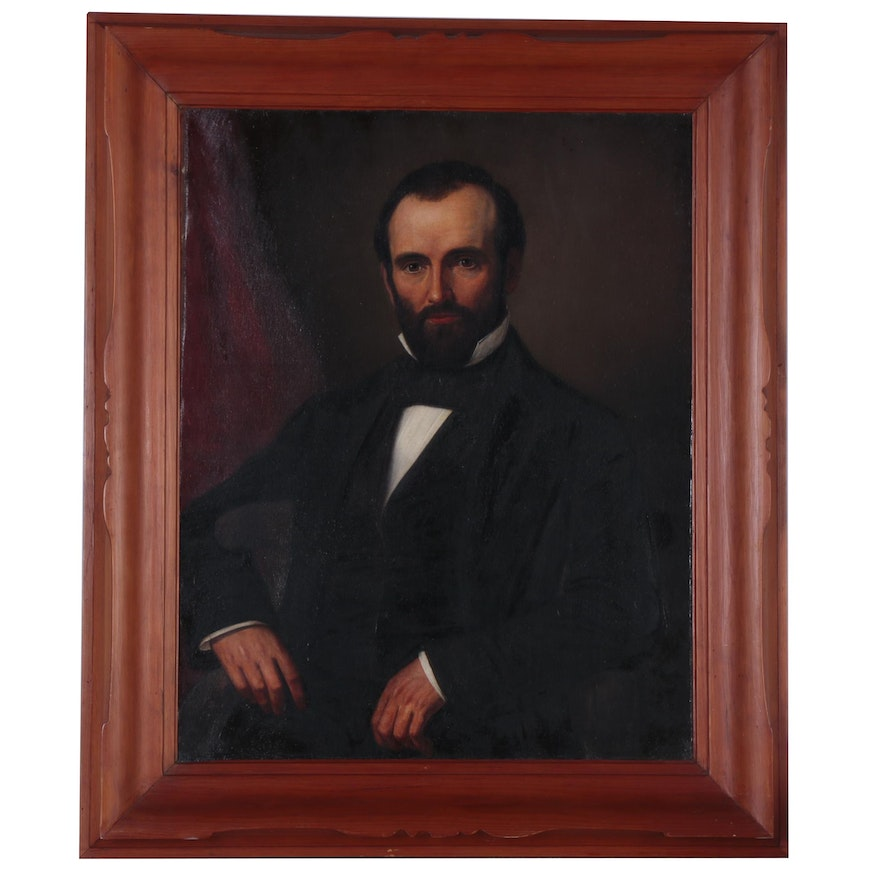 Portrait Oil Painting Attributed to John Aubery, Mid 19th Century
