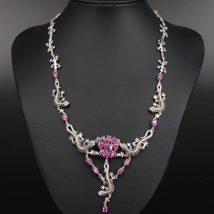 Sterling Silver Lizard Motif Drop Necklace with Ruby and Marcasite