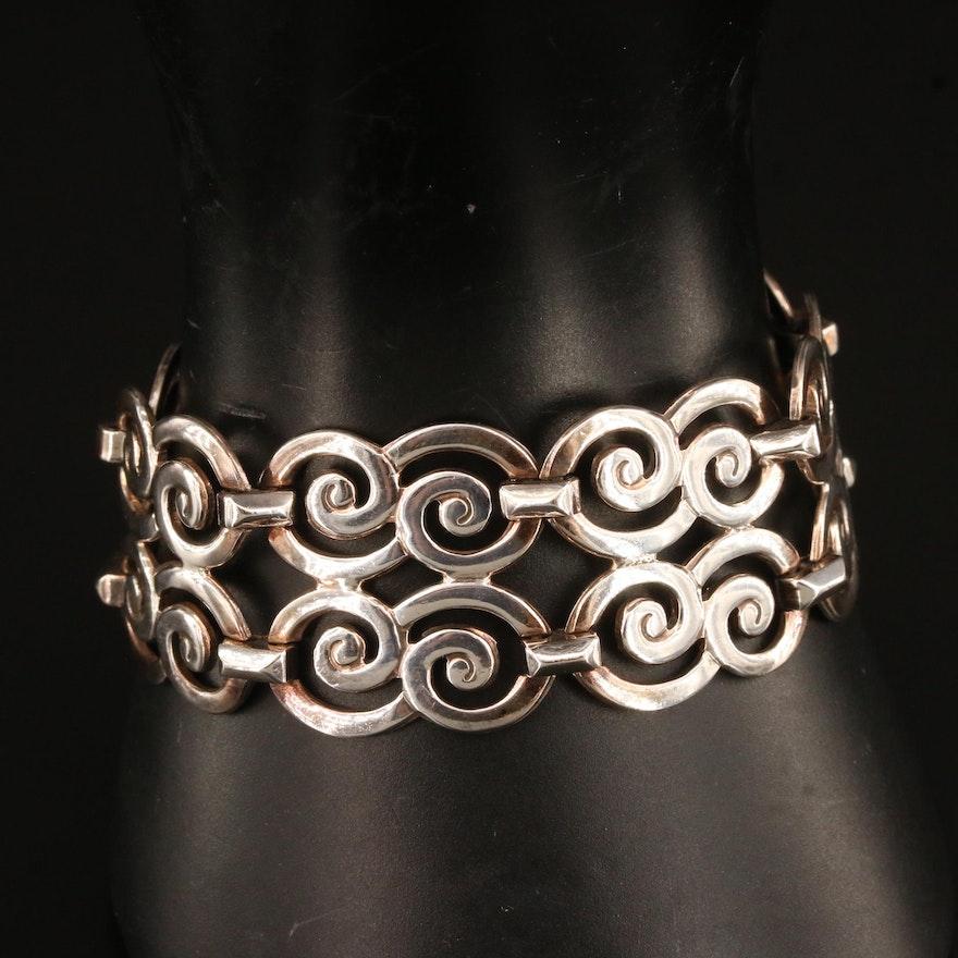 Sterling Swirl Double Row Bracelet