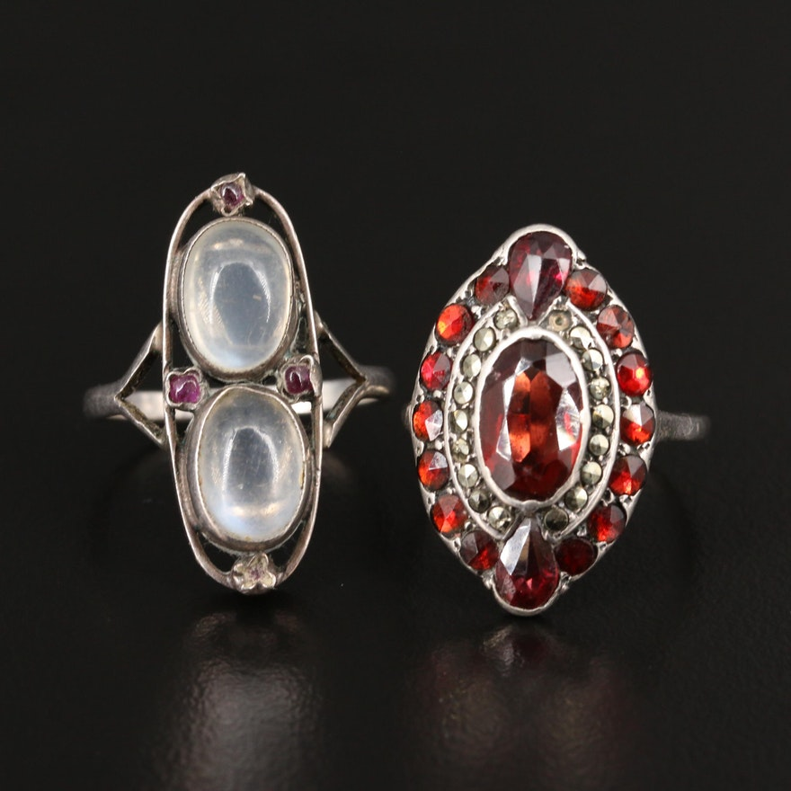 Vintage 935 Silver Rings with Moonstone, Garnet and Marcasite