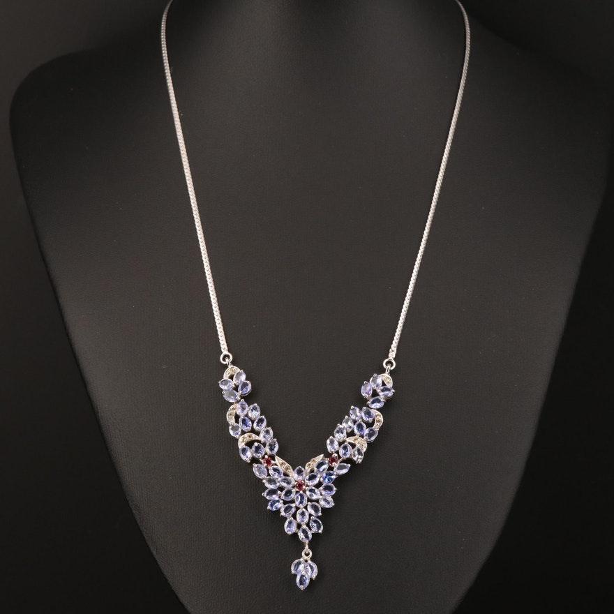 Sterling Silver Tanzanite and Garnet Necklace