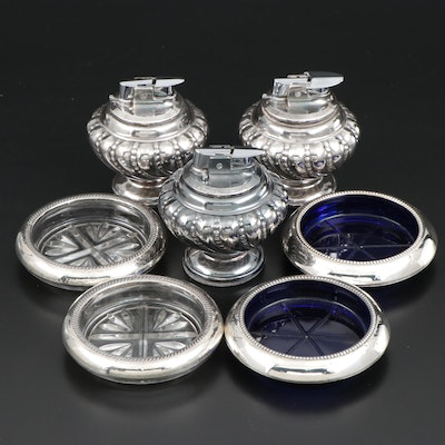 "Ronson ""Varaflame Crown"" Table Lighters with Sterling and Glass Coasters"