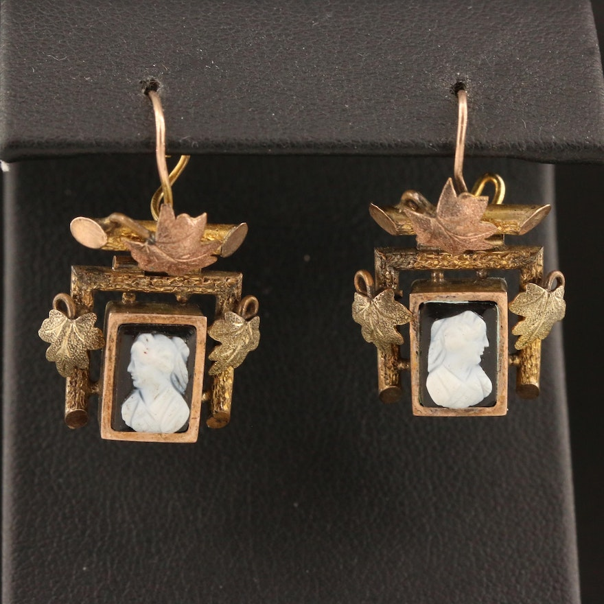Vintage Banded Onyx Cameo, Tri-Color Foliate Motif Drop Earrings