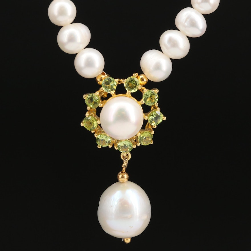Pearl Drop Necklace with Peridot Accents and Sterling Silver Clasp