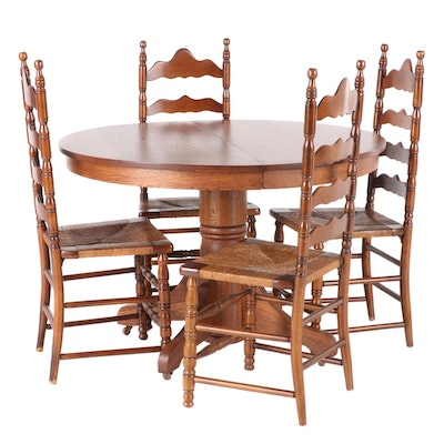 Oak Expandable Pedestal Table and Ladderback Chairs Dining Set, 20th Century