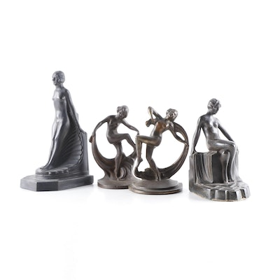 Art Deco Female Figure Bookends, Mid to Late 20th Century