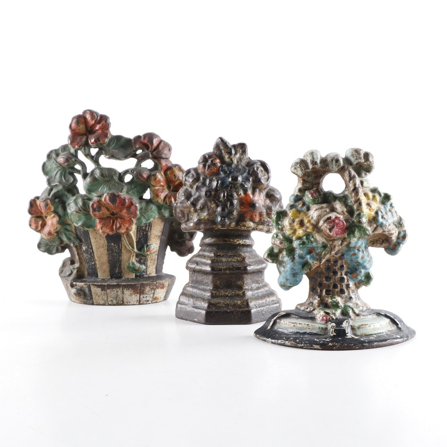 Hubley Nasturtium and other Painted Cast Iron Doorstops, Early to Mid-20th C.