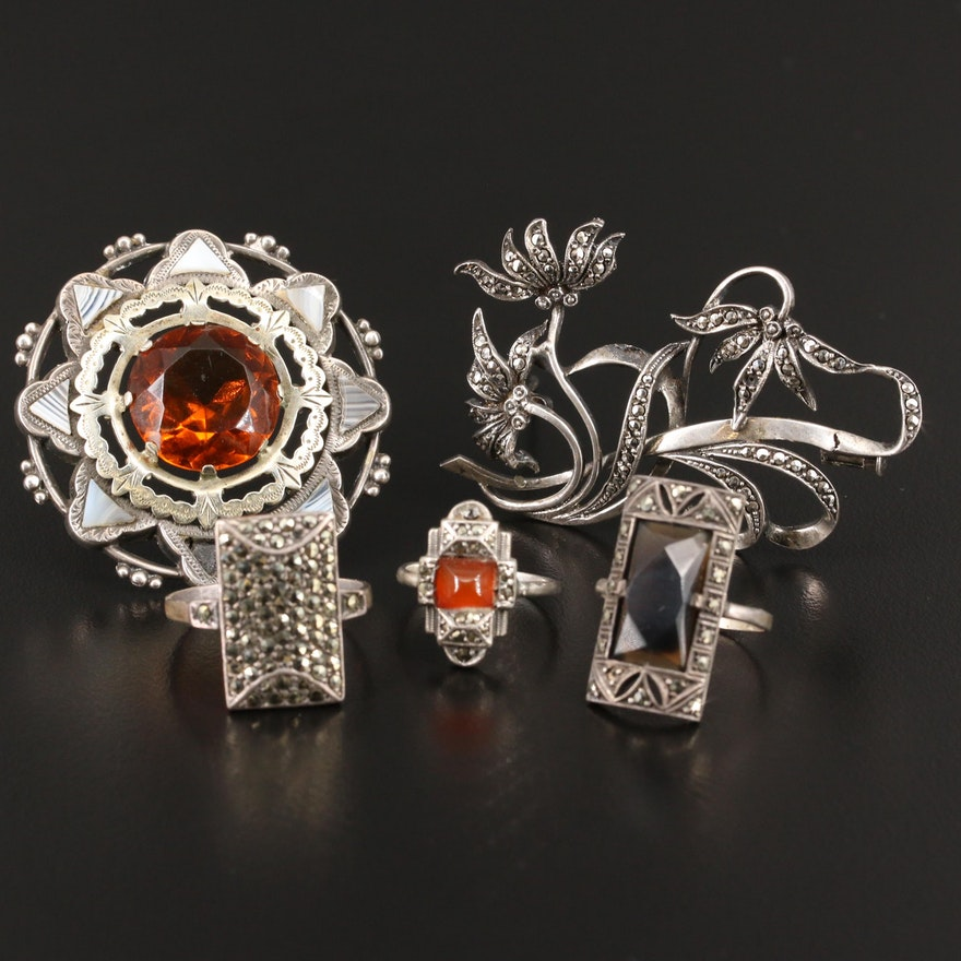 Jewelry Including 935, 800 Silver and Vintage Sterling Rings