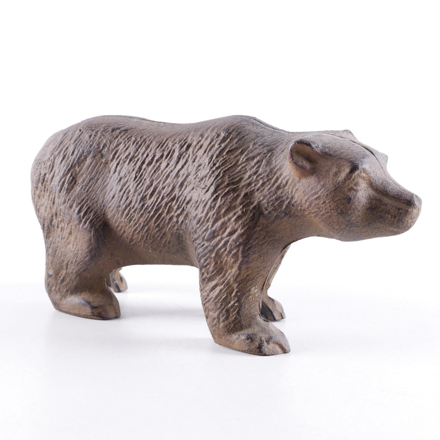 Reproduction Cast Metal Grizzly Bear Doorstop