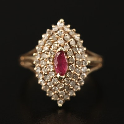 10K Ruby and Diamond Cluster Ring
