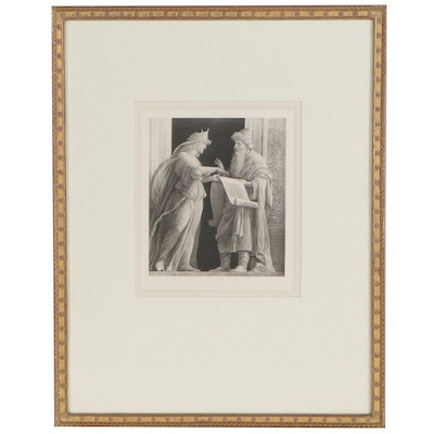 """Aquatint Etching after Andrea Mantegna """"Sibyl and Prophet"""", 19th Century"""