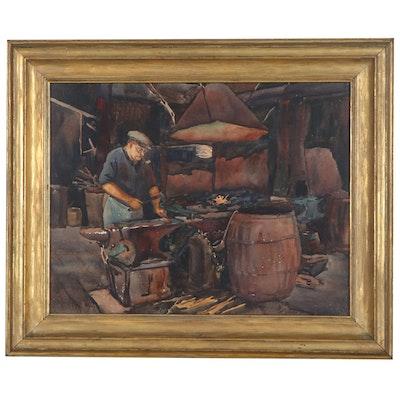 """Alma Jordan Knauber Watercolor Painting """"Anvil,"""" 1926"""