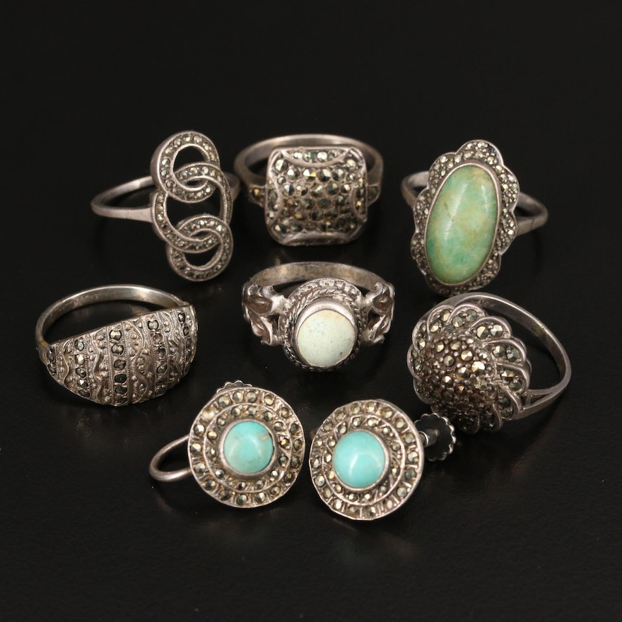 Vintage Sterling and 935 Silver Rings with Turquoise, Marcasite and Feldspar