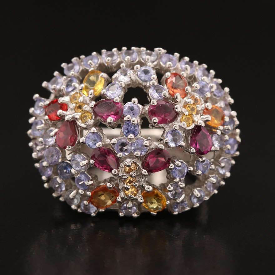Sterling Silver Dome Ring Featuring Tanzanite, Garnet and Sapphire