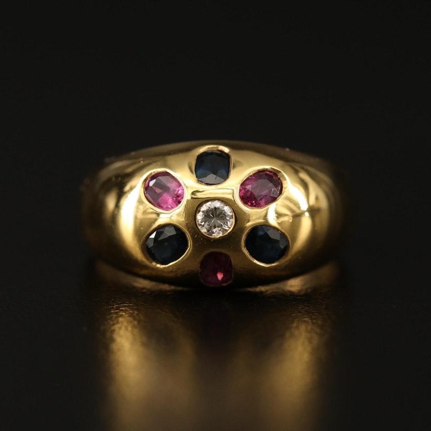 18K Gypsy Set Diamond, Ruby and Sapphire Flower Ring