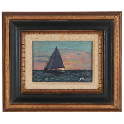 Carmen Sanchez Oil Painting of Sailboat in the Sunrise, Late 20th Century