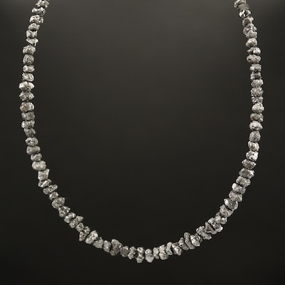 14K Rough Cut Diamond Beaded Necklace
