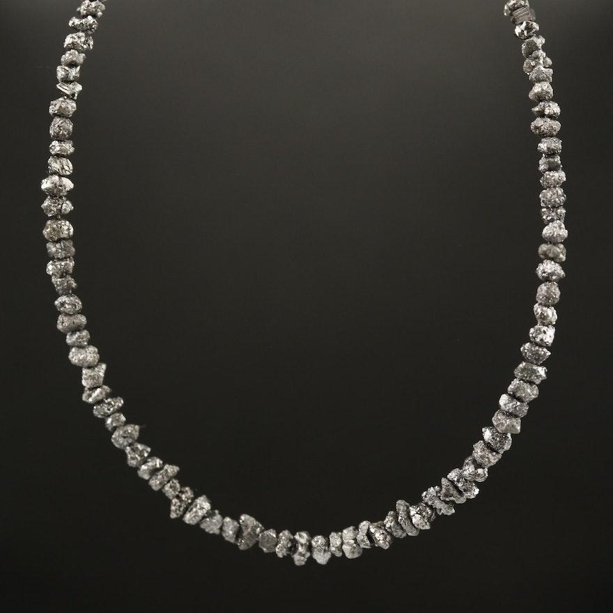 14K Rough Cut Diamond Beaded Necklace