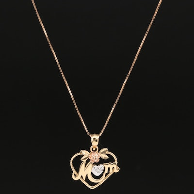 "14K Tri-Color Diamond ""Mom"" Heart Necklace"
