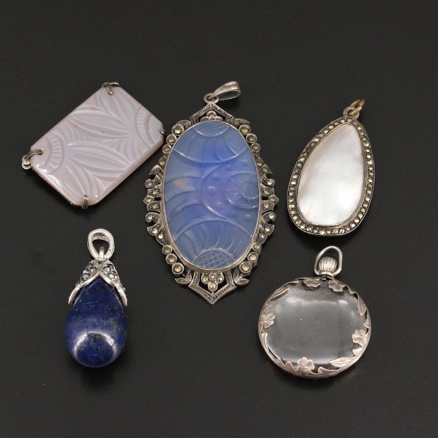 Selection Of Vintage Pendants Featuring Mother of Pearl and Lapis Lazuli