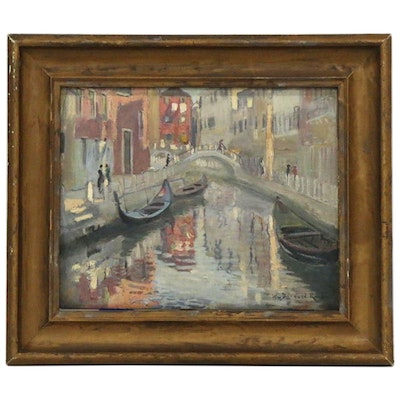 William Bernard Reid Oil Painting of Canal Scene, Early 20th Century