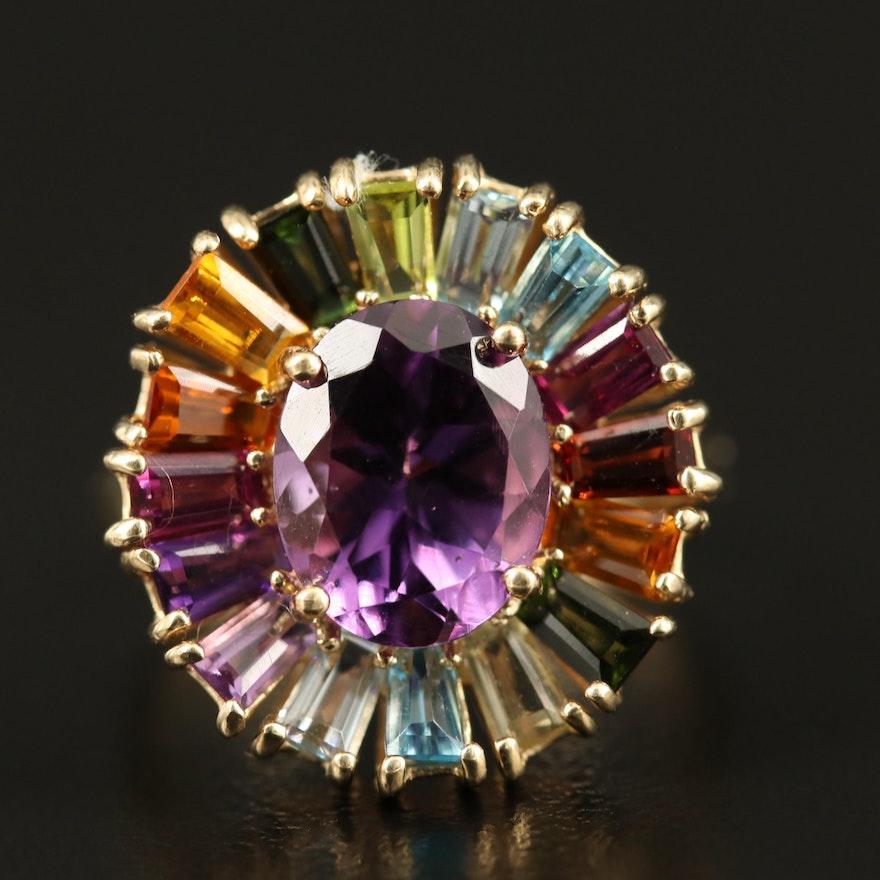 10K Amethyst and Gemstone Ring