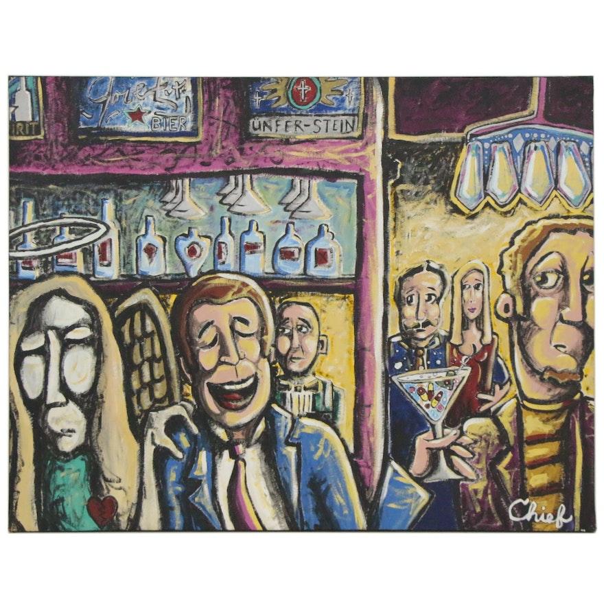 "Big Chief Folk Art Oil Painting ""Angel in Bar Room,"" 21st Century"