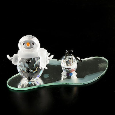 Swarovski Crystal Snowman and Penguin Figurines with Mirrored Plate