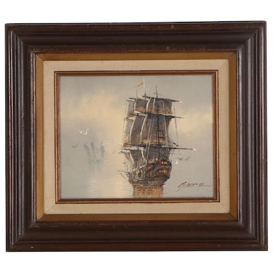 Danny Garcia Oil Painting of Spanish Galleon, Late 20th Century