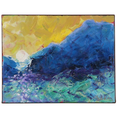 "Claire McElveen Landscape Oil Painting ""Sunrise Mountain Pass"", 2020"