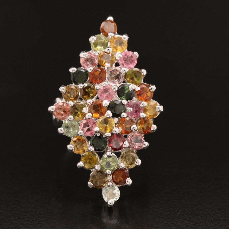 Sterling Silver Tourmaline Ring Featuring Navette Cluster Design