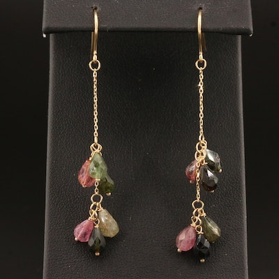 14K Tourmaline Dangle Earrings