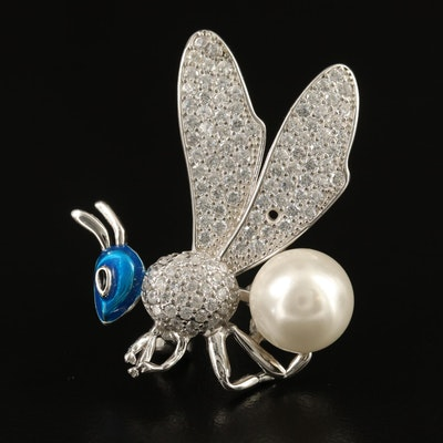 Sterling Silver Faux Pearl, Enamel and Cubic Zirconia Insect Brooch